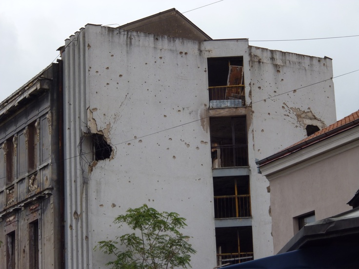 Here is some war damage in Mostar.