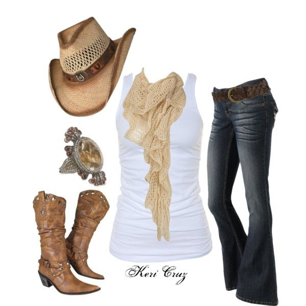 "I don't know why but I think of you Andrea when I see this out fit  ""Country Kicks"" by keri-cruz on Polyvore"