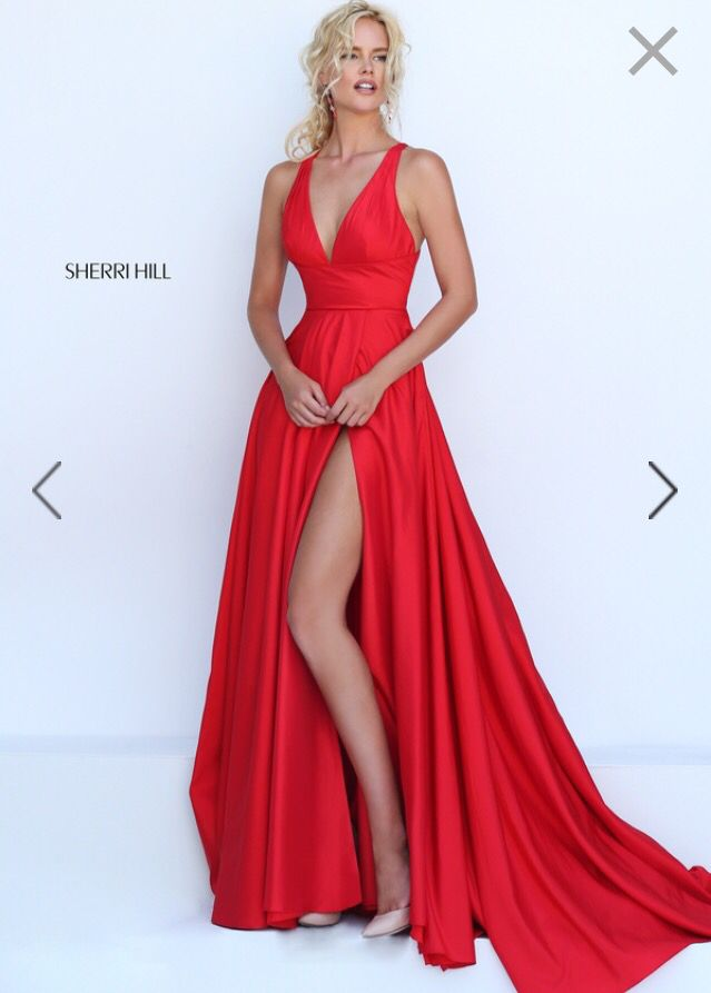 Red Deep V Prom Dress with Slit