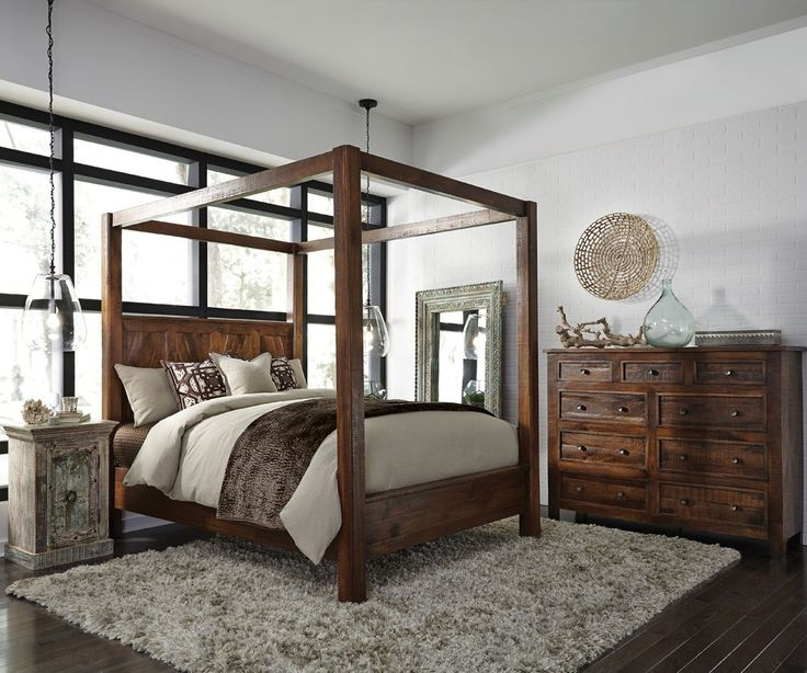 Kosas Solid Wood Canopy King Bed & The 25+ best Wood canopy bed ideas on Pinterest | Wood canopy Bed ...