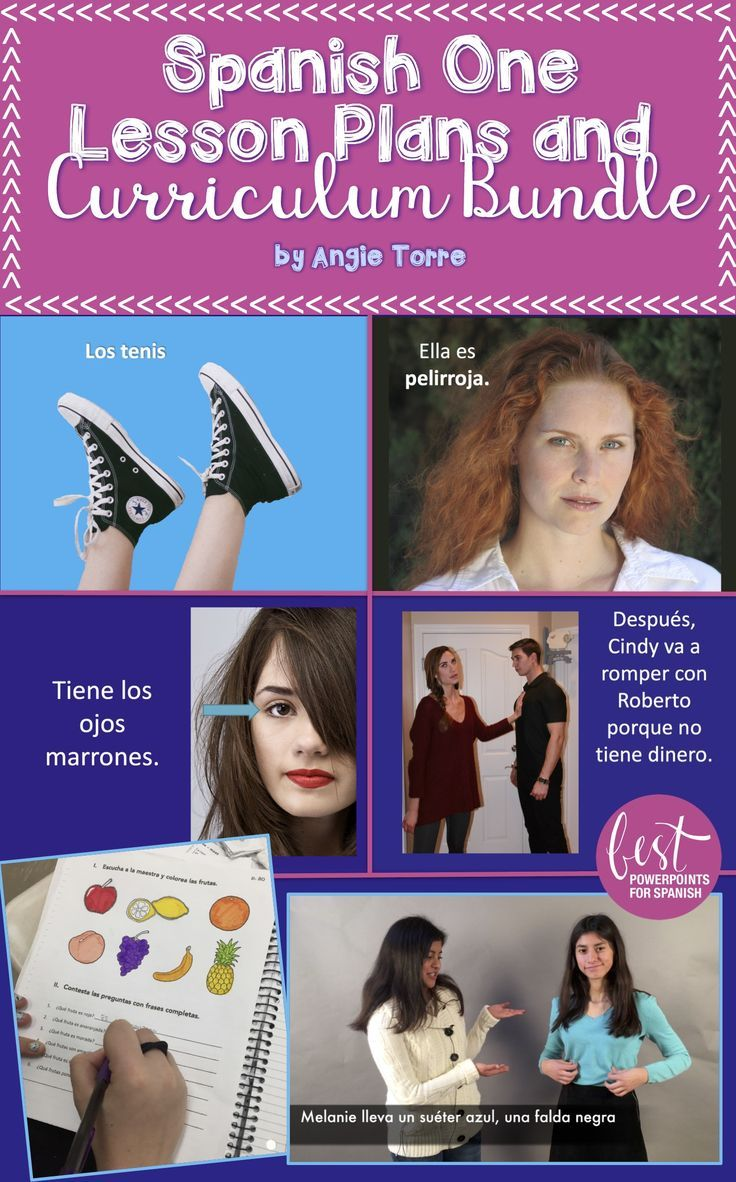 No textbook needed and no prep necessary when you purchase Angie Torre's Spanish One Lesson Plans and Curriculum for an Entire Year.  Everything you need to teach Spanish One is in this bundle including a year of engaging lesson plans, PowerPoints with amazing visuals, Google Drive Activities, Interactive Notebook Activities, homework, Bell Ringers, Spanish movies, illustrated TPR Stories and so much more.  Click here to see what else is included.