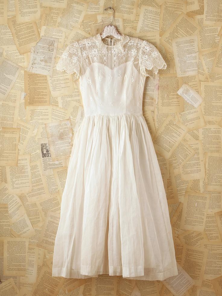 Free People Vintage White Embroidered Eyelet Dress