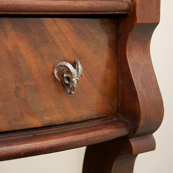 Ram skull cabinet knob made in NYC Blue Bayer Design quantity listing. $20.00, via Etsy.
