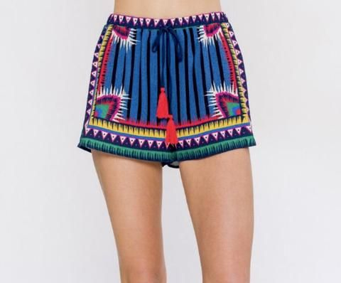 Electric Blue Aztec Shorts with Red Tassel Ties – James Ascher