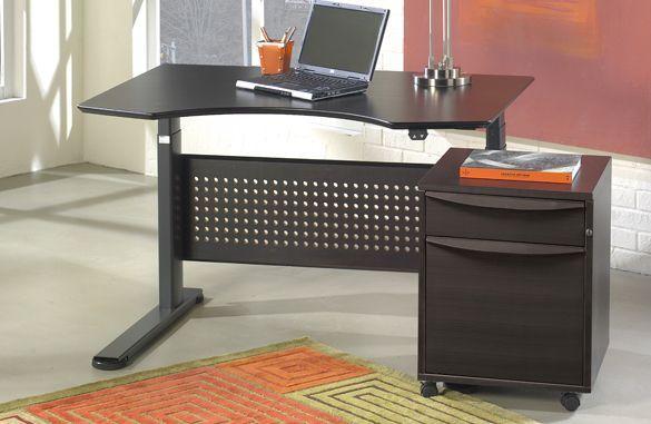 cool shaped desk w/ file cabinet