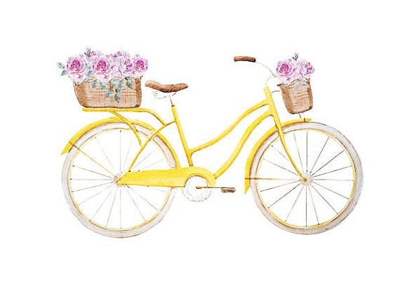 Yellow Bicycle Print with flowers A5, Bike Print, Colored Print, Bicycle Wall Art, Bicycle Print, Wall Art, Printable, Instant Download