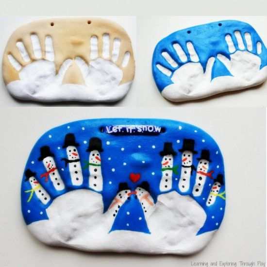 Let It Snow Christmas Salt Dough Handprint