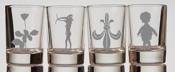 Depeche mode logos etched shot glass set of 4