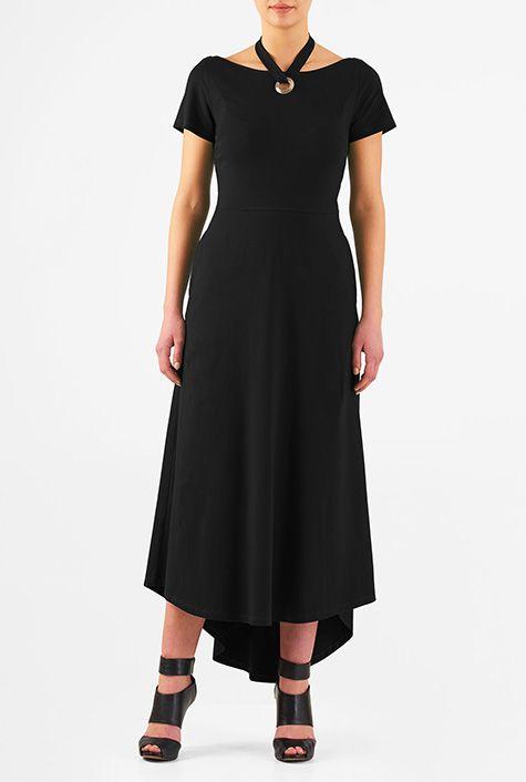I <3 this Halter tie neck cotton knit dress from eShakti
