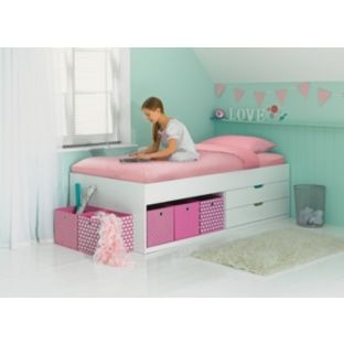 155 Phoenix White Cabin Bed Frame With Bobby Mattress At Argos If It S For Occasional Use This Could Have Cushions Along The Back To Look More