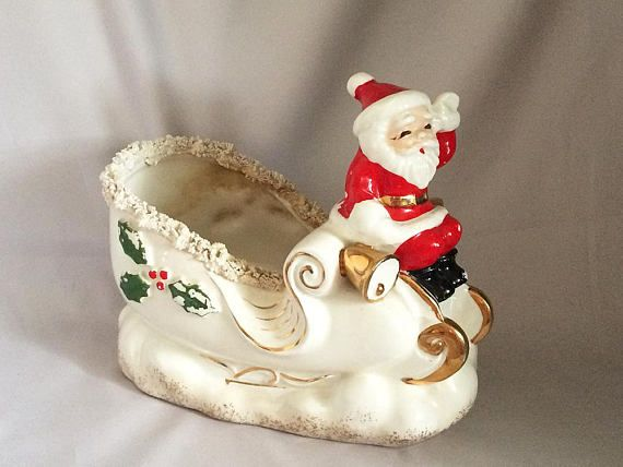 Vintage NAPCO SANTA on SLEIGH Candy Dish Planter, Rare Spaghetti Trim, Christmas Sleigh Centerpiece, 1950s Christmas Decorations, Made in Japan