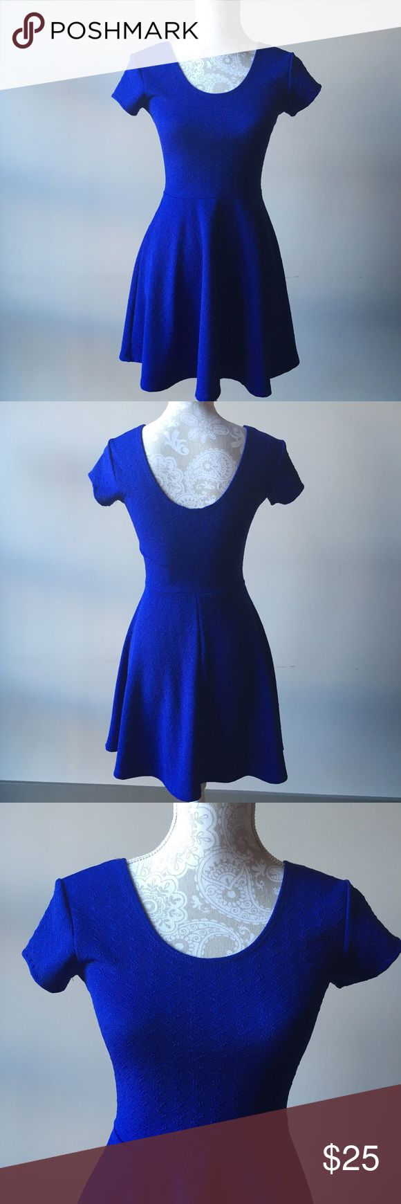 Royal blue skater dress Cute and flirty textured skater dress. Worn once for a party and still like new. Planet Gold Dresses