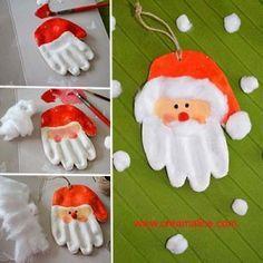 Père Noel: empreinte de main pate à sel