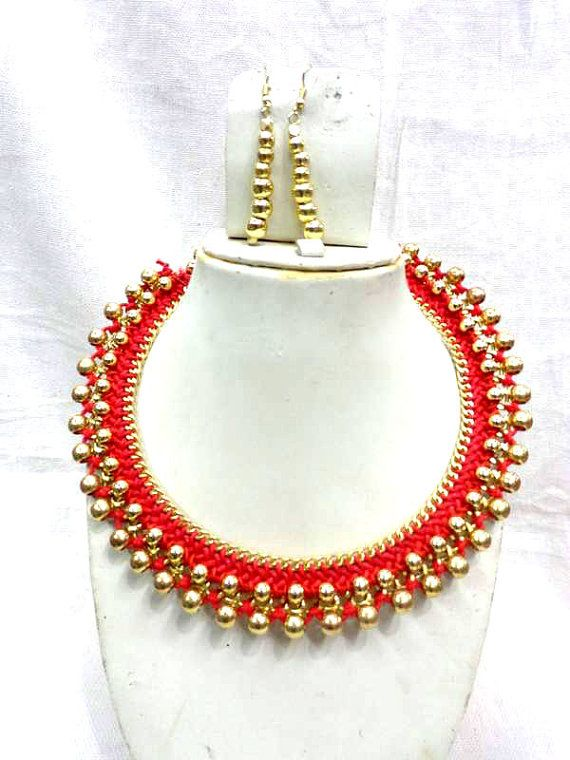 Statement Necklace/ Red Necklace /Chunky Necklace/Beaded Necklace/Bib Necklace/Beaded Jewelry , gypsy style handmade, thread necklace,choker