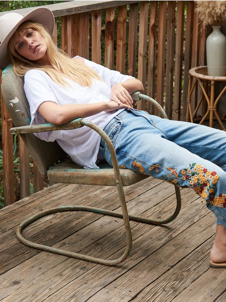 Embroidered Girlfriend Jean at Free People Clothing Boutique