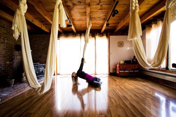aerial yoga dance - silk hammock kama fitness