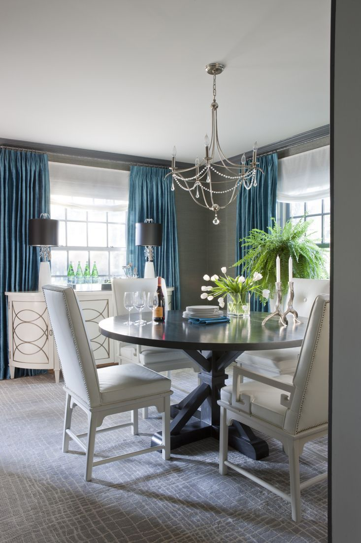 Teal colored dining rooms love the pop of blue on grey for Teal dining room table