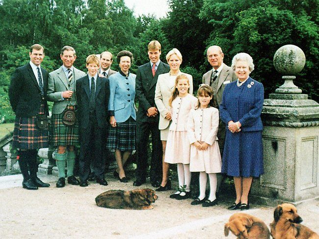 The royal family at Balmoral, from left, the Duke of York, Charles, Prince of Wales, his son Prince Harry, Prince Edward, Princess Anne, Prince William, Zara Phillips, Princesses Beatrice and Eugene, Prince Phillip and Queen Elizabeth, with the Queen's Corgi Harris in foreground.