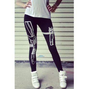 2014 New Sexy Machine Gun/Work Out Print Black Soft Cotton Leggings Tights  Pants