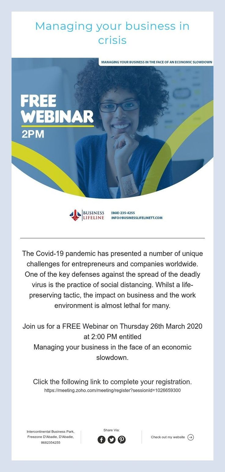 Managing your business in crisis in 2020 Free webinar