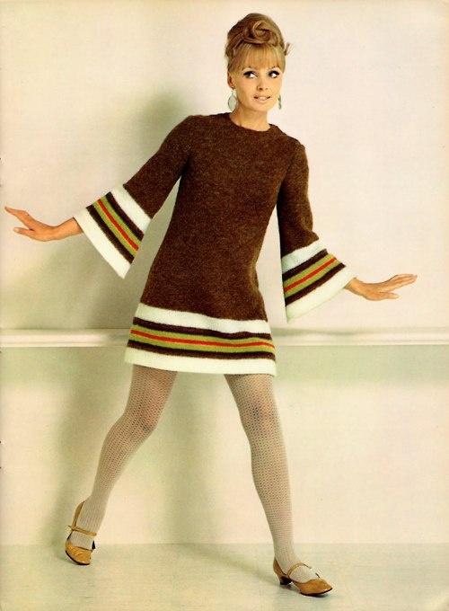 Model in a cute brown knit dress, 1960s.