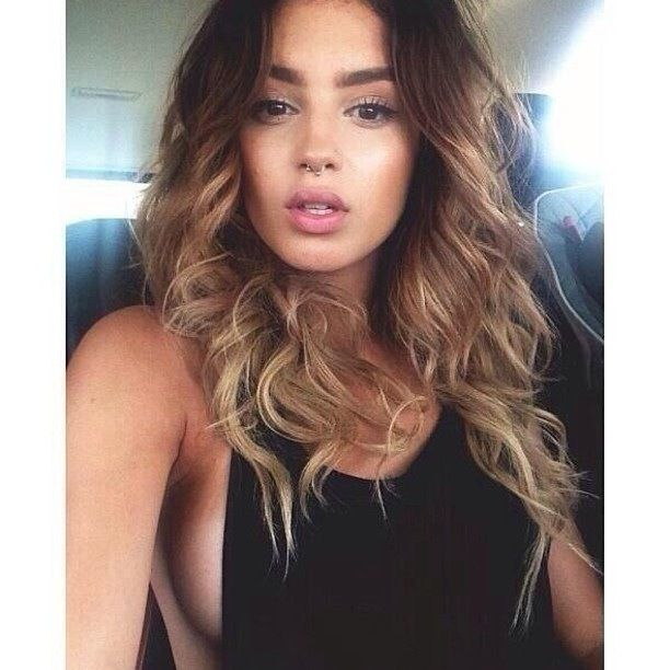 Septum Piercing and long curly ombre hair