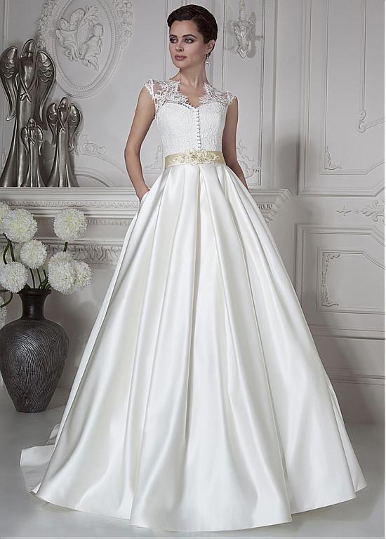 Elegant Satin & Lace Queen Anne Neckline A-line Wedding Dresses