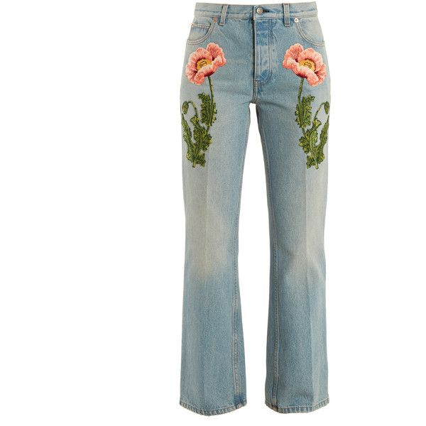 Gucci Flower-embroidered straight-leg jeans ($1,500) ❤ liked on Polyvore featuring jeans, pants, denim, gucci, flower jeans, white denim jeans, light wash denim jeans and white straight leg jeans
