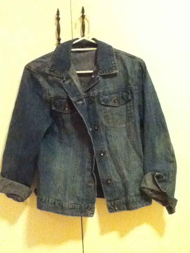 5 - Genuine denim jacket (target), size 16. Was a hand-me-down to me, in great condition, a bit large but looks great on.