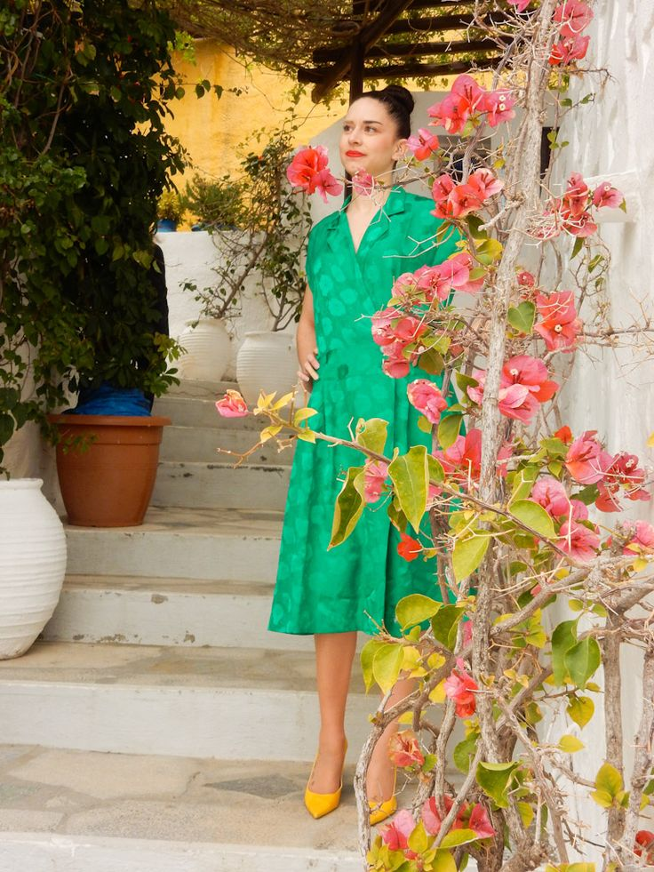 Green Dress in Cyclades Vilage