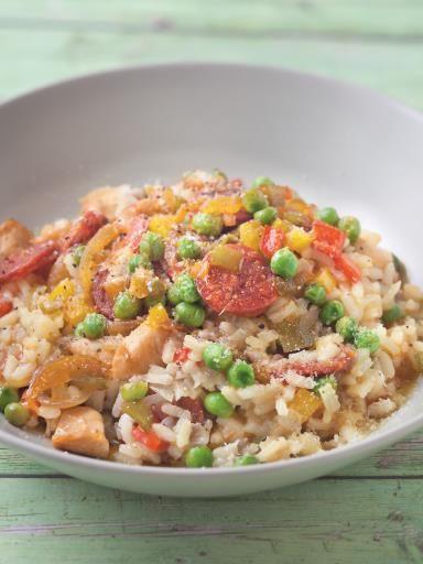 Risotto au poulet et chorizo : Recette de Risotto au poulet et chorizo - Marmiton