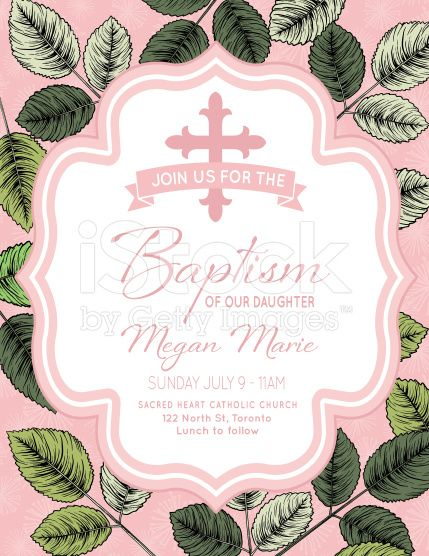 Baby Girl Baptism Or Christening Invitation Template royalty-free stock vector art