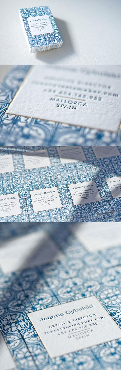 This beautiful business card features delicate and intricate patterning which has been boldly printed in bright blue on white using the letterpress method.