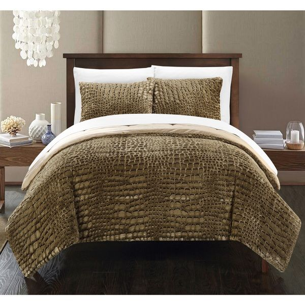 Chic Home Caimani Gold Faux Fur Queen 3 Piece Comforter