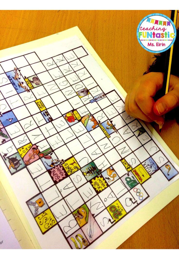 PY 5 - Uke 6: Vi har startet med kryssordstasjon og har det så gøy! Kryssord er en fantastisk øvelse for å trene staving, synonymer og utviding av vokabular :)