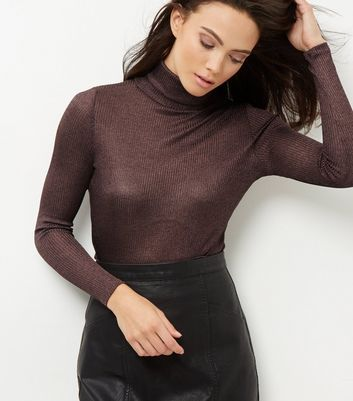 Bronze Fine Knit Ribbed Turtle Neck Jumper | New Look