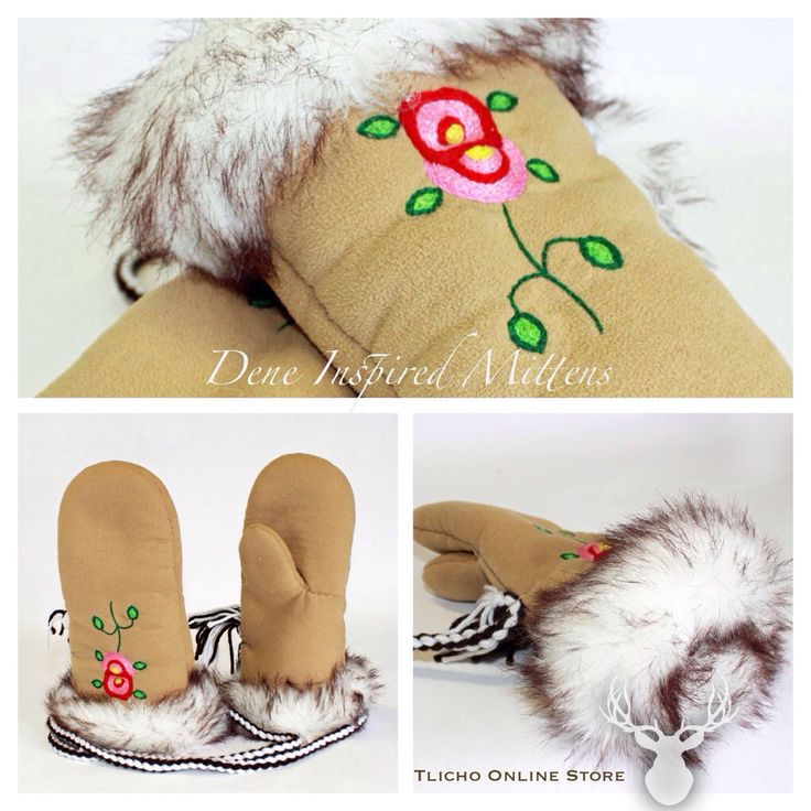 #Dene #Inspired #Mittens made by a #Tlicho from #Behchoko, NT. Available on  http://onlinestore.tlicho.ca/products/dene-inspired-mittens-1