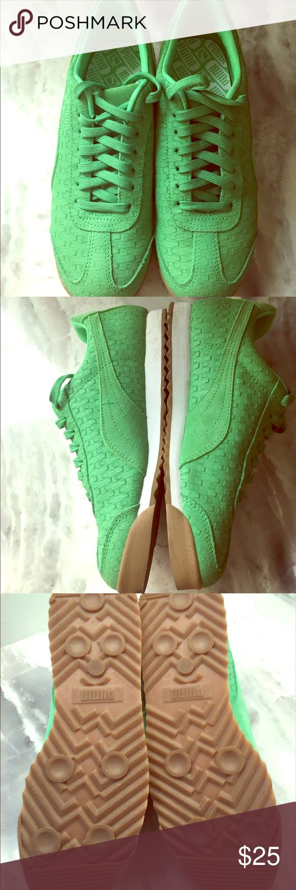 Jade Green PUMA sneakers size 8 Closet clean out! I love the color of these shoes, so bright and fun! I have worn them two time but otherwise in perfect condition. If you need more pictures or information, please ask! I do not have the original box but they will be sent in a secured box. Similar shoes are selling for $34.95 on amazon. Puma Shoes Sneakers