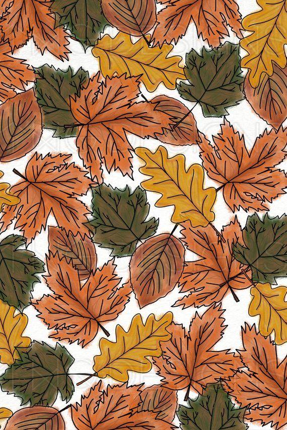 Fall Autumn Leaves Orange Brown Watercolor Digital Scrapbook Etsy Iphone Wallpaper Fall Cute Fall Wallpaper Fall Wallpaper