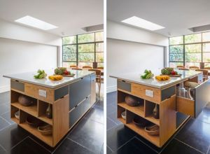 Large kitchen island in a London remodel by MW Architects with two-story bespoke plywood cabinets   Remodelista