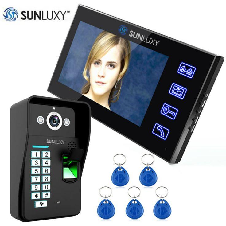 """Sunluxy 7 """"TFT Color de Vídeo Puerta Timbre Del Teléfono de Intercomunicación de Vídeo con Control de Acceso de Reconocimiento de Huella Digital Táctil de 5 Llaveros Kits"""