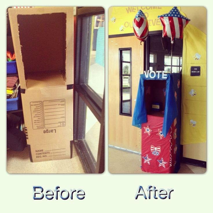 In light of the election, I decided to make a voting booth for my students.