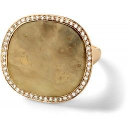 Monique Pean: Cognac fossilized woolly mammoth tooth root signature ring with white diamond pavé