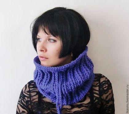 """Купить Шарф-снуд """"Парижанка"""" - фиолетовый, снуд вязаный, снуд мужской, снуд женский, подарок"""