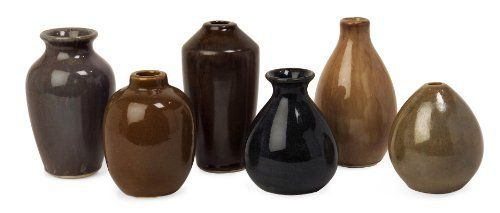 Imak Mini Vases, Set of 6 by Imax. $41.25. A simple yet striking collection of handmade ceramic vases. Set includes six unique yet coordinated vases. Vases measure from 4.5-6.5 inches in height and from 3.5-4 inches in diameter.. Perfect for use in a wide range of interiors, from rustic to contemporary. The set blends organic shapes with beautiful glazes. Mini Vases- This simple yet striking collection of handmade ceramic vases blends organic shapes with beautiful gla...