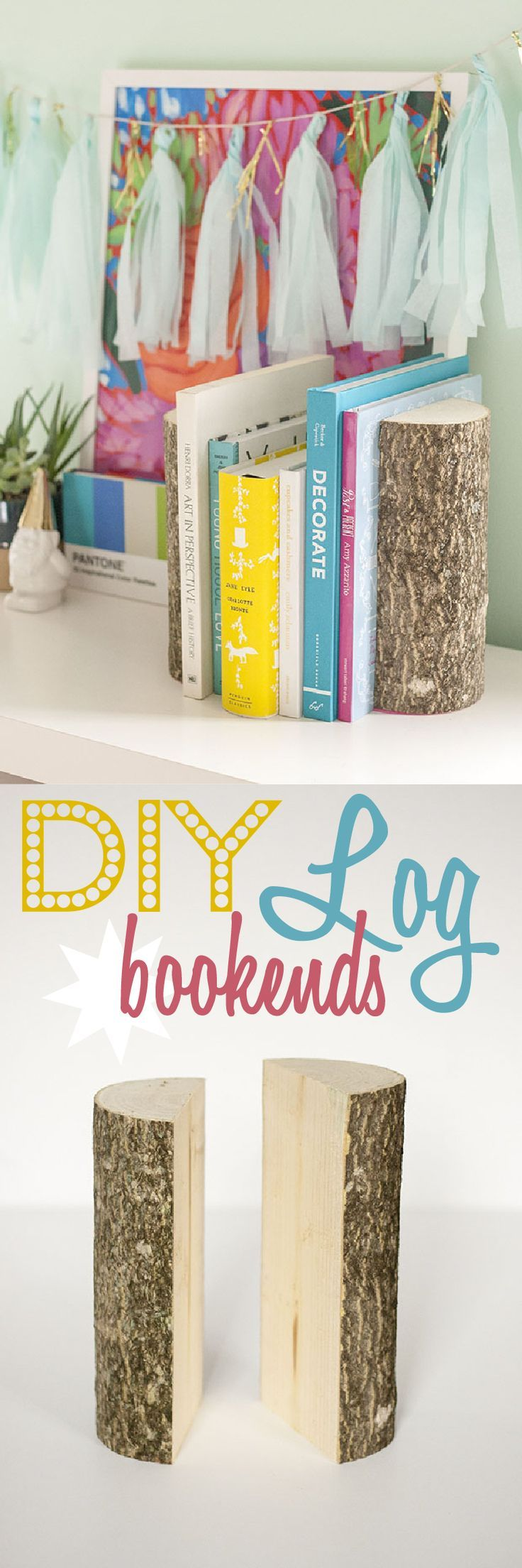How have we not done this yet! Using log halves as bookends. Add some felt at the bottom so they are easy to move and don't scratch your shelving. Adorable and functional! www.ehow.com/...