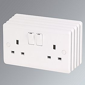 LAP 13A 2-Gang DP Switched Plug Socket White Pack of 5
