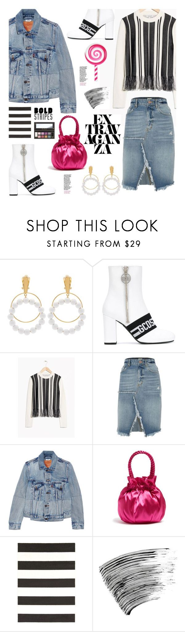 """""""Trends 2018: BOLD STRIPES"""" by hamaly ❤ liked on Polyvore featuring Marni, GCDS, River Island, Vetements, Staud, Surya, Bobbi Brown Cosmetics, outfit, stripes and ootd"""