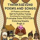 CuteThanksgiving Poems and Songs about the Pilgrims and the Native Americans includes: 14 PRINTABLE COLOR POSTERS FOR EACH SONG-14 PRINTABLE BLACK AND WHITE COLORING SHEET FOR EACH SONG 14 PRIN...