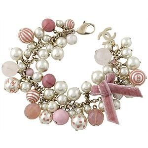 Chanel Pink & Cream Pearl Bracelet This would be cute as a watch!
